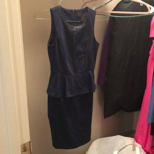office dress with leather accents navy blue